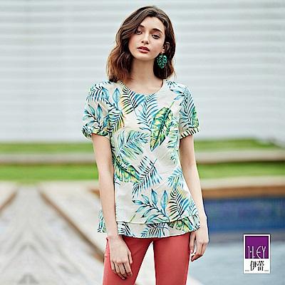 ILEY伊蕾 100%純棉棕櫚葉印花上衣(米)