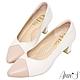 Ann'S此生最好穿-V口雙色拼接版本小羊皮備受呵護跟鞋-粉米白(版型偏大) product thumbnail 1