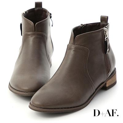 D+AF 人氣聚焦.小V口側拉鍊低跟短靴*咖