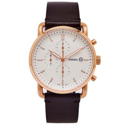 FOSSIL 簡約個性風計時手錶(FS5476)-白色面x咖啡色/42mm