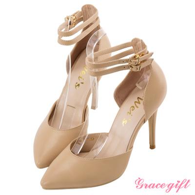 Grace gift X Wei唐葳-雙踝帶底釦細高跟鞋 杏