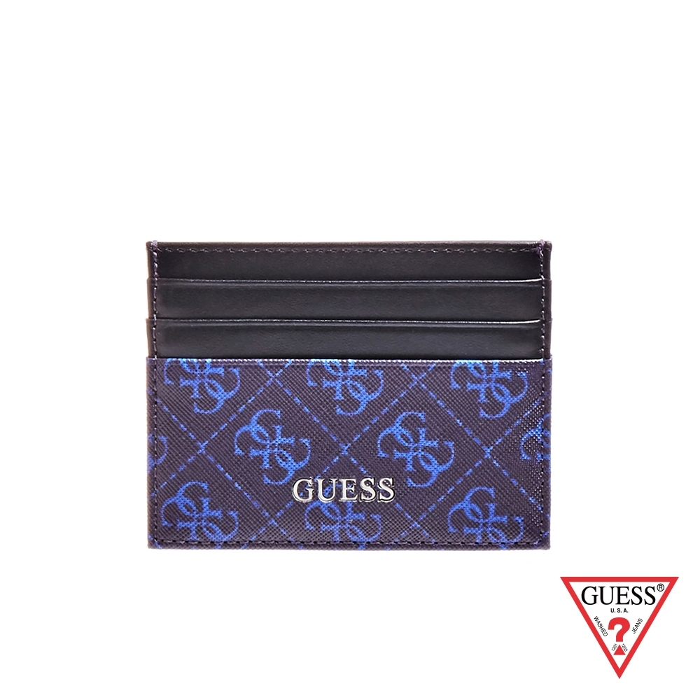 GUESS-女夾-撞色拼接LOGO輕便卡片夾-藍 原價1090