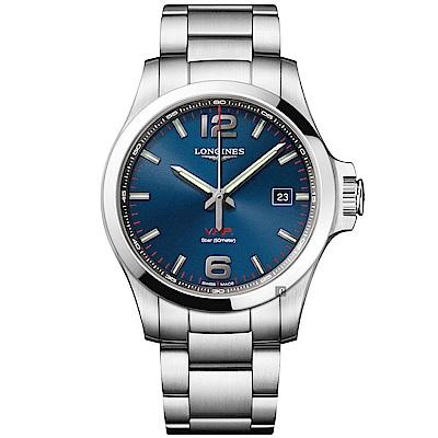 (無卡分期12期)LONGINES浪琴 征服者系列V.H.P.萬年曆手錶-藍x銀/43mm