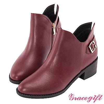 Grace gift-後帶釦開岔V口造型短靴 酒紅