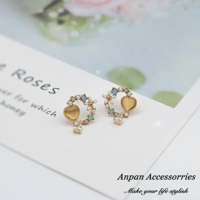 【ANPAN愛扮】韓東大門愛心浪漫花語925銀針耳釘式耳環-耳釘款
