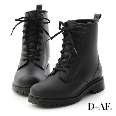 D+AF 率性日常.綁帶造型馬汀雨靴*黑