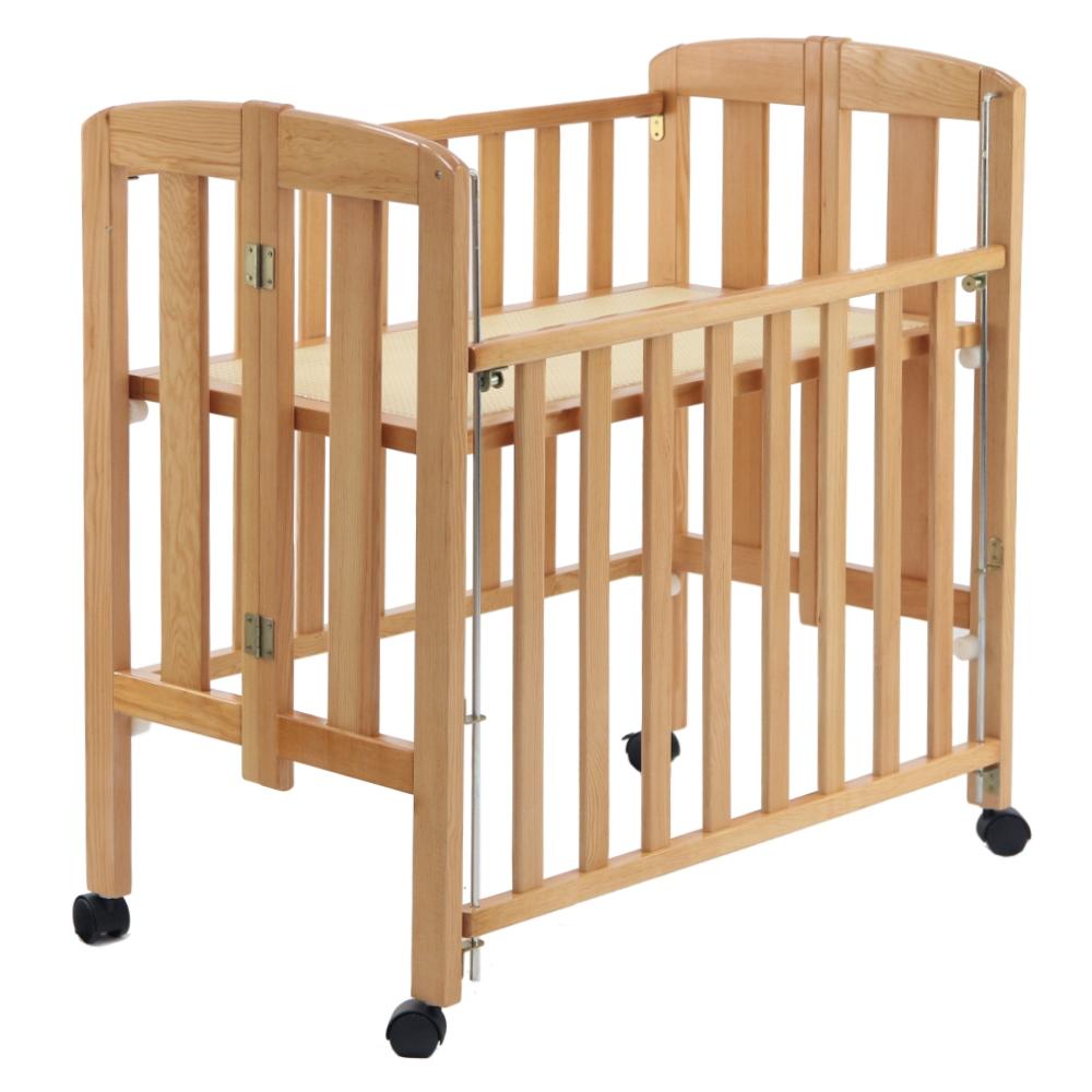 台灣製造 實木製收折嬰兒中床(折合床)