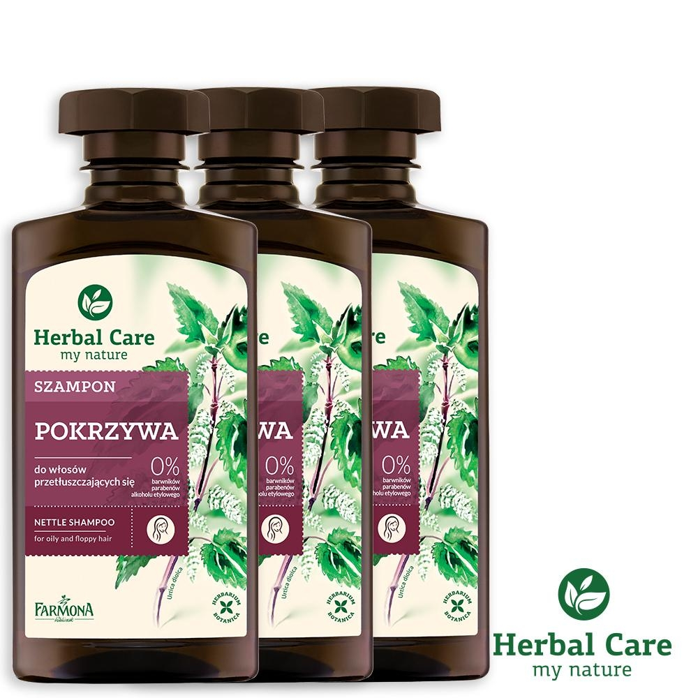 波蘭Herbal Care 蕁麻清爽植萃調理洗髮露(油性髮質適用)330ml(3瓶組)