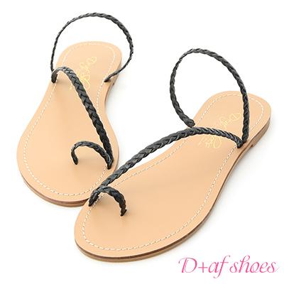 D+AF 微涼印象.麻辮編織平底涼拖鞋*黑