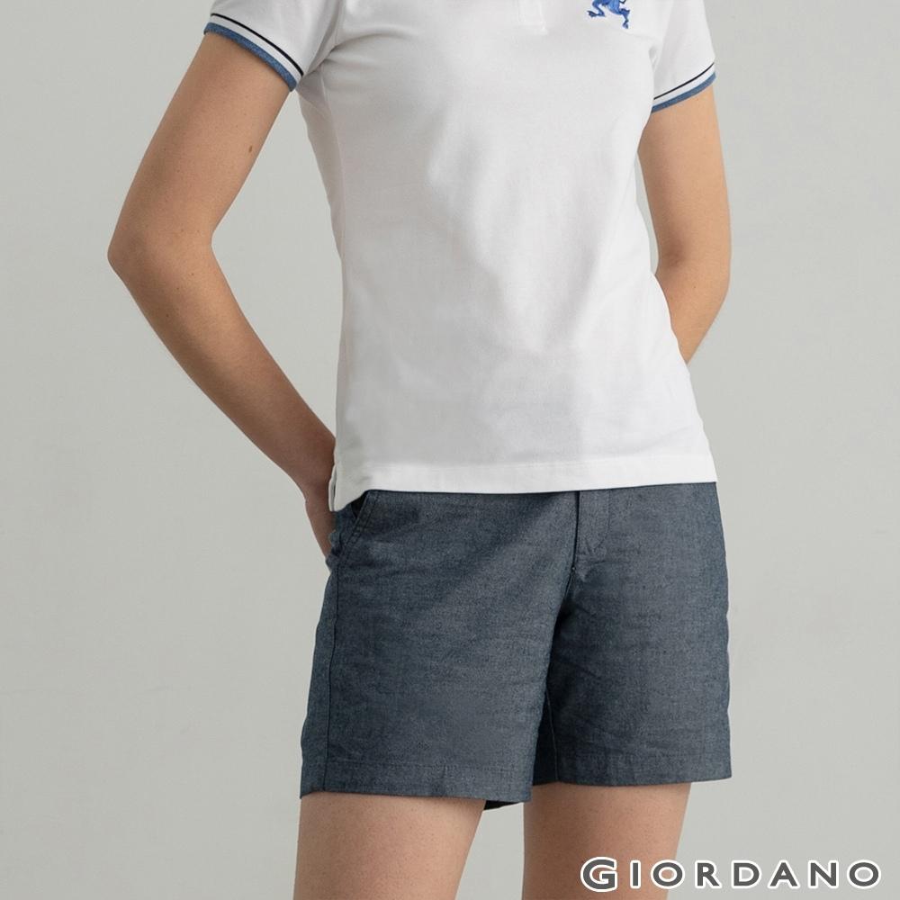 GIORDANO 女裝素色休閒卡其短褲 - 69 條格海軍藍