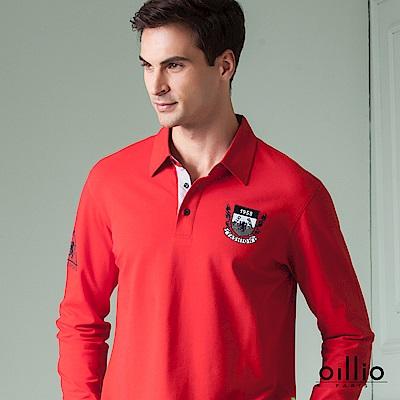 歐洲貴族 oillio 長袖POLO 簡約素面 精緻電腦刺繡 紅色