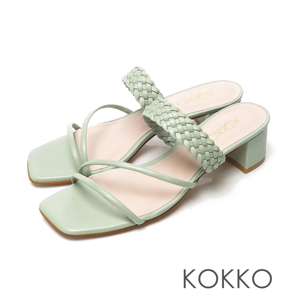 KOKKO時髦方頭細帶編織牛皮粗跟涼拖鞋灰濛綠