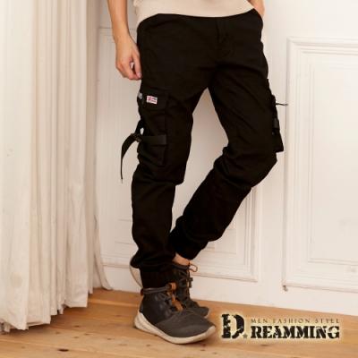 Dreamming 個性扣帶造型多口袋休閒縮口長褲 工裝褲-黑色