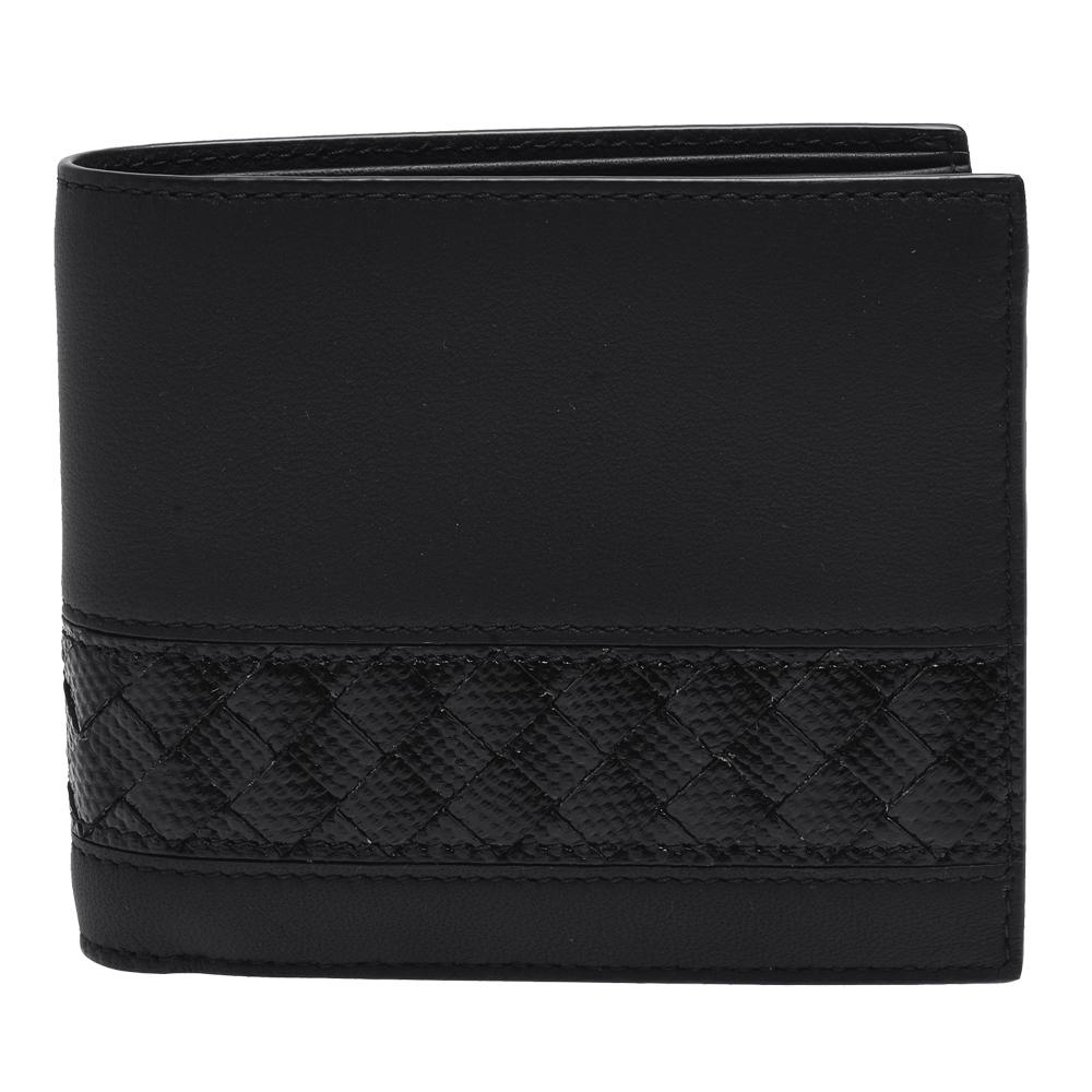 BOTTEGA VENETA 經典蛇皮編織飾邊羊皮摺疊短夾(黑色)