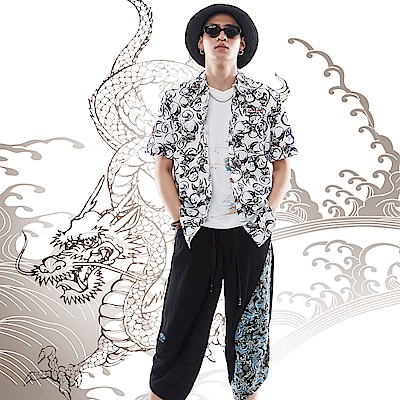 BIG TRAIN 達摩印花短袖襯衫-男-白
