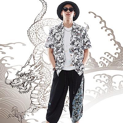 BIG TRAIN 加大達摩印花短袖襯衫-男-白