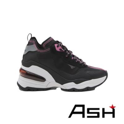 ASH-DELIGHT透明蟬翼撞色楔型增高老爹鞋-黑