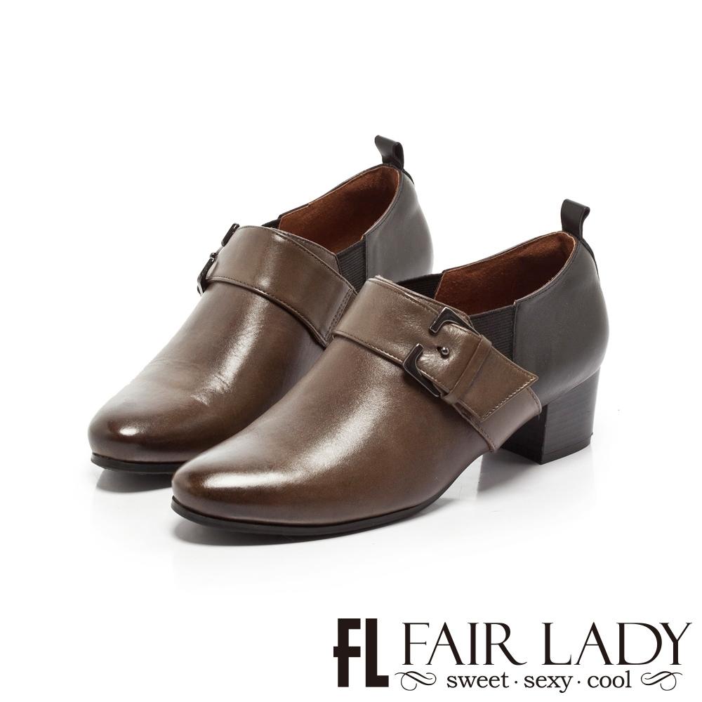 Fair Lady雙色皮革拼接扣帶粗跟踝靴 橄欖綠