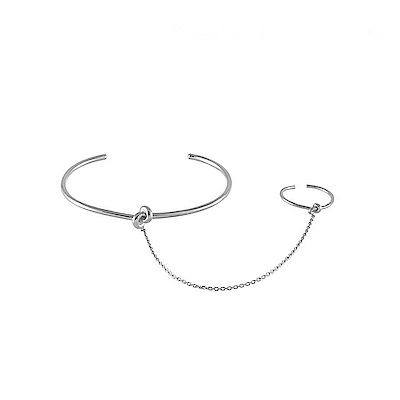 Wanderlust+Co 澳洲時尚品牌 扭結手環戒指一體鍊