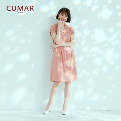 【CUMAR】襯衫領星星女短袖-洋裝(三色/版型合身)