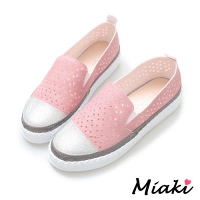 Miaki-休閒鞋潮流必買拼色懶人鞋-粉