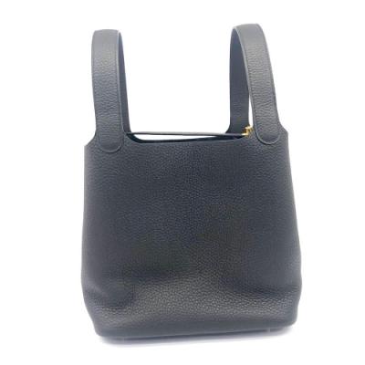 HERMES Picotin Lock 22CM T/C 牛皮桶包(Y刻/89 黑/金釦)