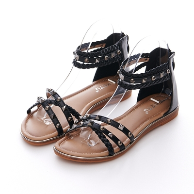 JMS-民族風編織鉚釘細帶交叉環裸羅馬涼鞋-黑色