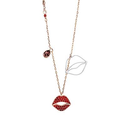 SWAROVSKI 施華洛世奇 璀璨水晶烈豔紅唇 玫瑰金色項鍊