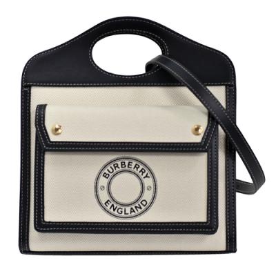 BURBERRY Louise標誌圖案帆布皮革飾邊手提/斜背口袋包(迷你-黑色)