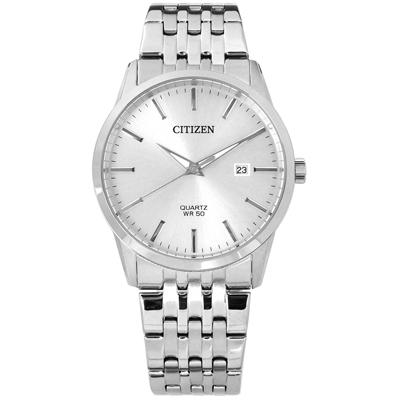 CITIZEN 礦石強化玻璃 日期 日本機芯 不鏽鋼手錶-銀色/39mm