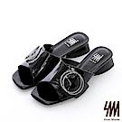 【SM】復古時尚系列--歐美時尚簡約晶鑽方頭低粗跟拖鞋(2色)