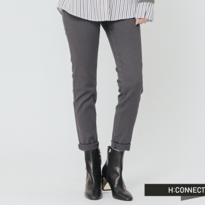 H:CONNECT 韓國品牌 女裝 - 修身格紋長褲-棕(快)