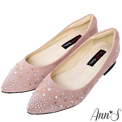 Ann'S星星糖-漸層小水鑽沙發後跟尖頭平底鞋-粉