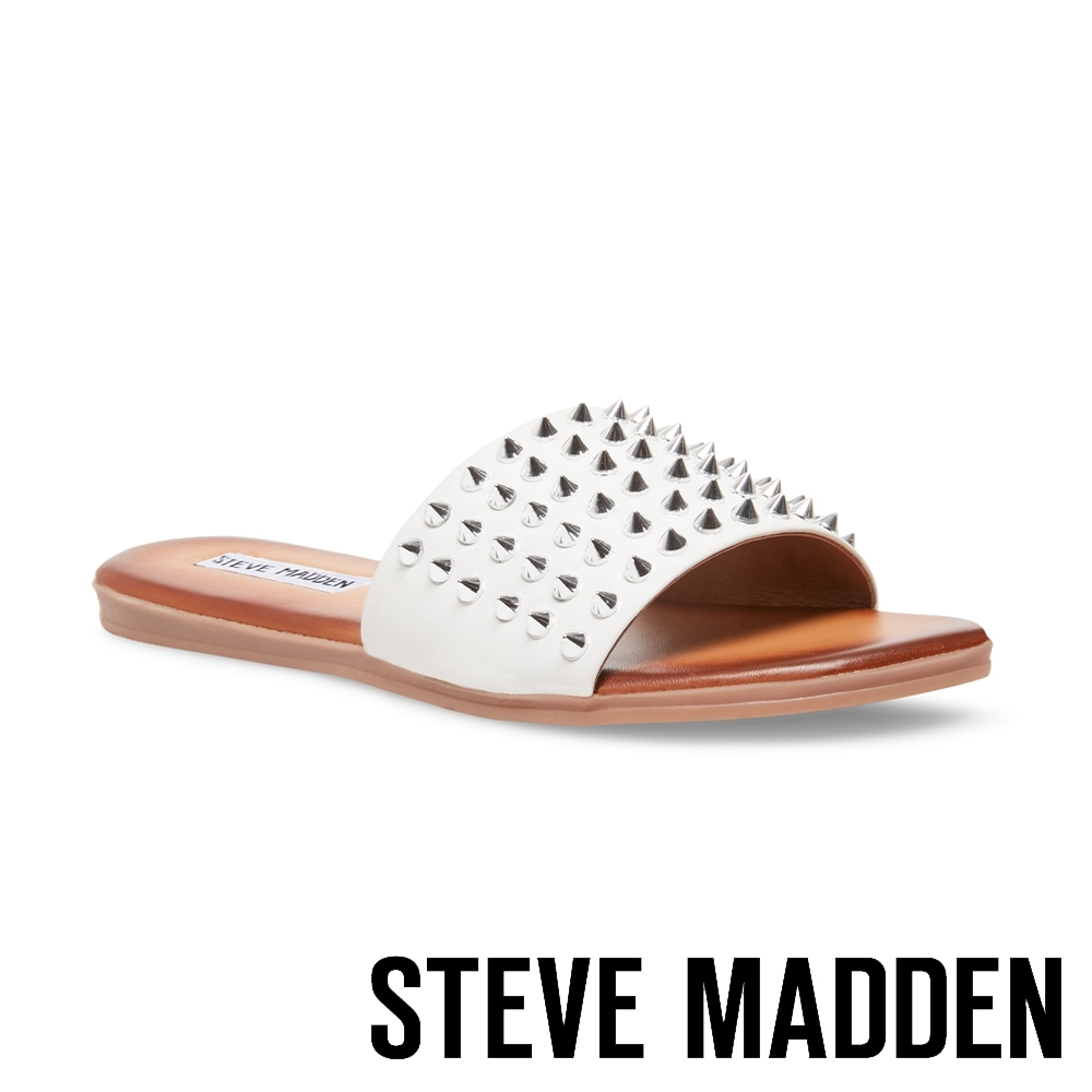 STEVE MADDEN-FARRYN 帥氣皮革鉚釘一字拖鞋-白色