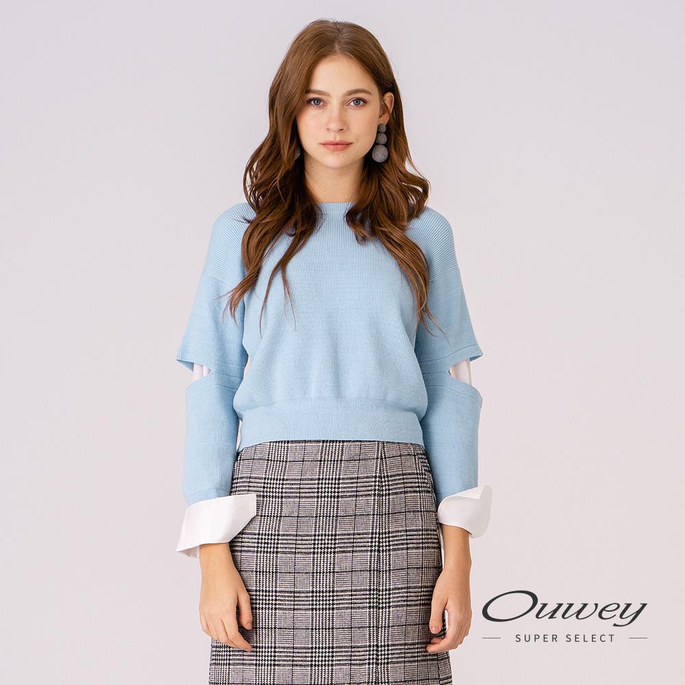 OUWEY歐薇 假兩件造型剪接圓領針織上衣(藍)