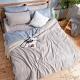 DUYAN竹漾-芬蘭撞色設計-雙人四件式舖棉兩用被床包組-藍灰被套 x 岩石灰床包 台灣製 product thumbnail 1