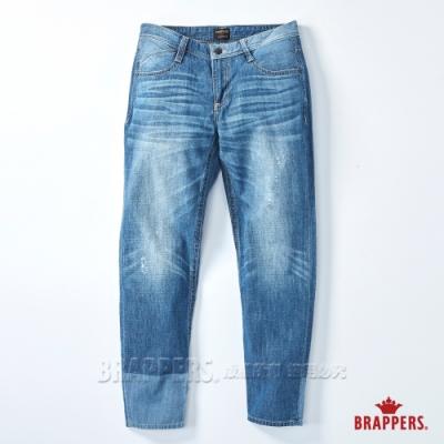 BRAPPERS 女款 Boy friend系列-中低腰拼色八分反摺褲-淺藍