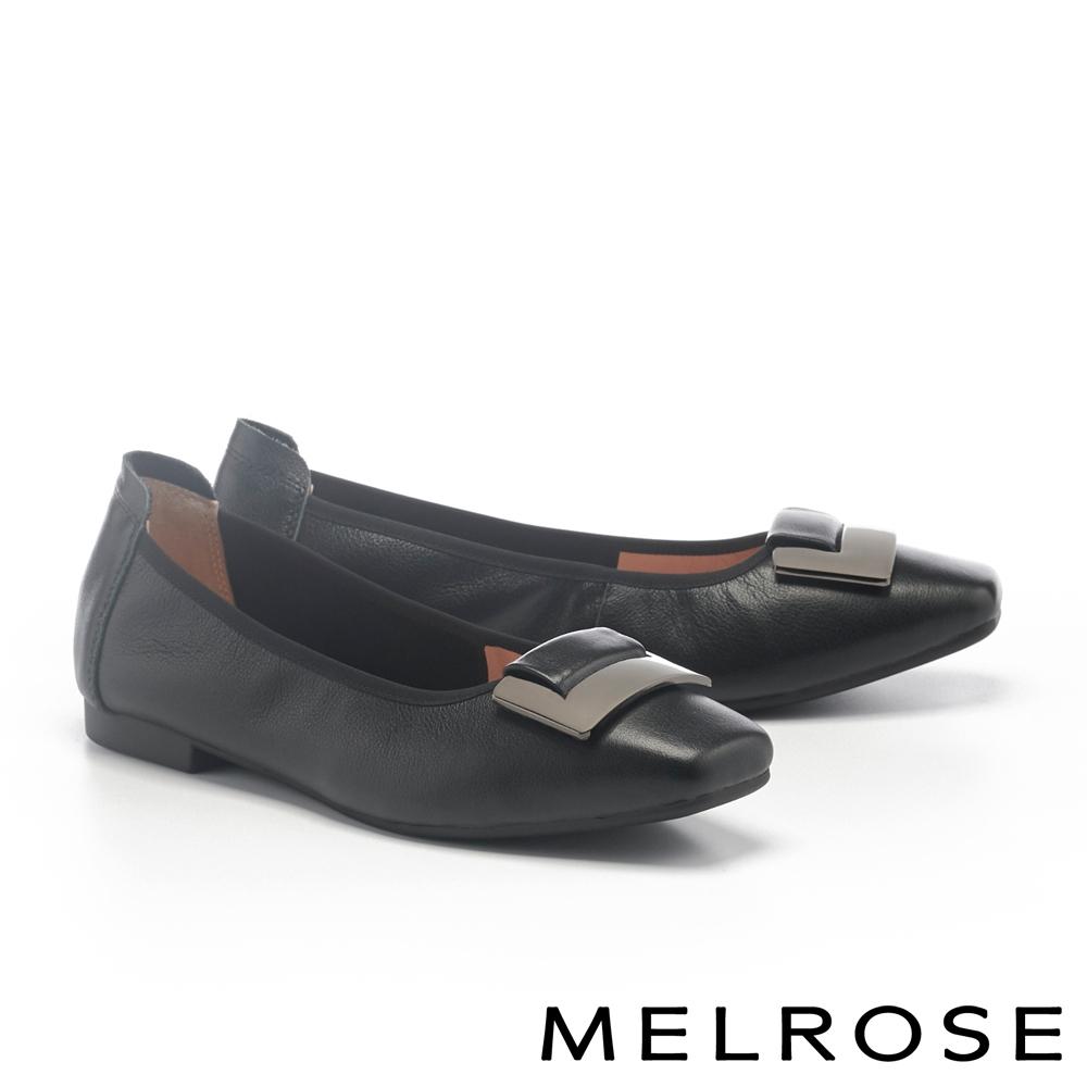 低跟鞋 MELROSE 都會典雅金屬方釦全真皮方頭低跟鞋-黑