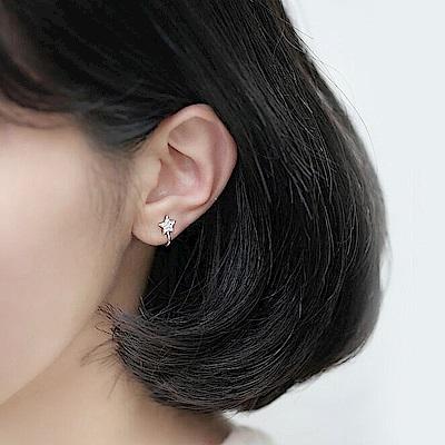 梨花HaNA 無耳洞韓國微鑲細鑽五角星耳環夾式
