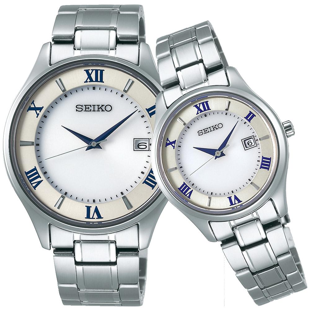 SEIKO精工 SPIRIT 鈦金屬 太陽能簡約對錶(SBPX101J+STPX041J)