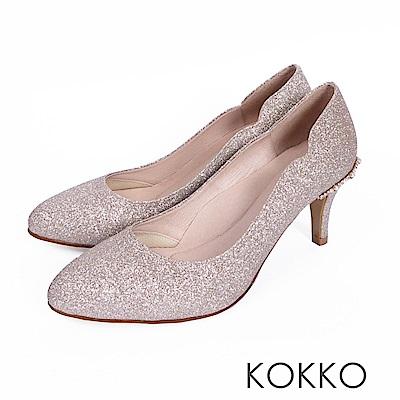 KOKKO - 華麗典藏水鑽曲線手工高跟鞋-命定金
