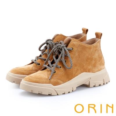 ORIN 潮流同步 真皮高筒綁帶平底休閒鞋-棕色