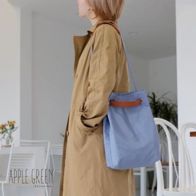 Apple Green 知性質感尼龍2way單肩包/手提包 - 霧藍