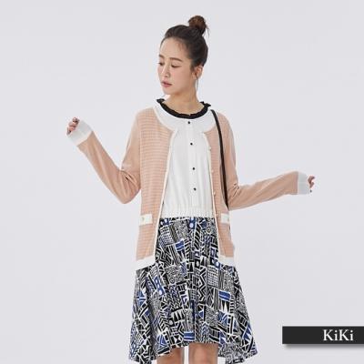 【KiKi】香奈兒風金飾外套-針織衫(藍色)