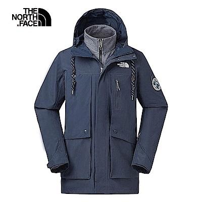 The North Face北面男款藍色防水保暖三合一外套|46F5H2G