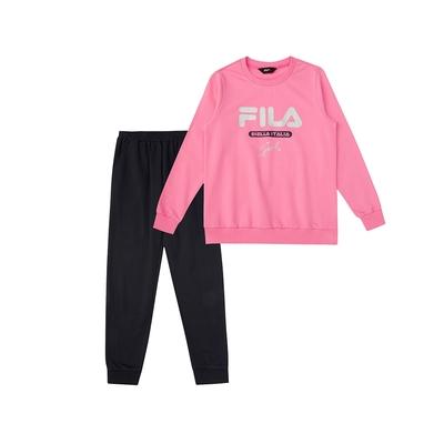 FILA KIDS 女童長袖針織套裝-桃色 5WTV-8910-PC