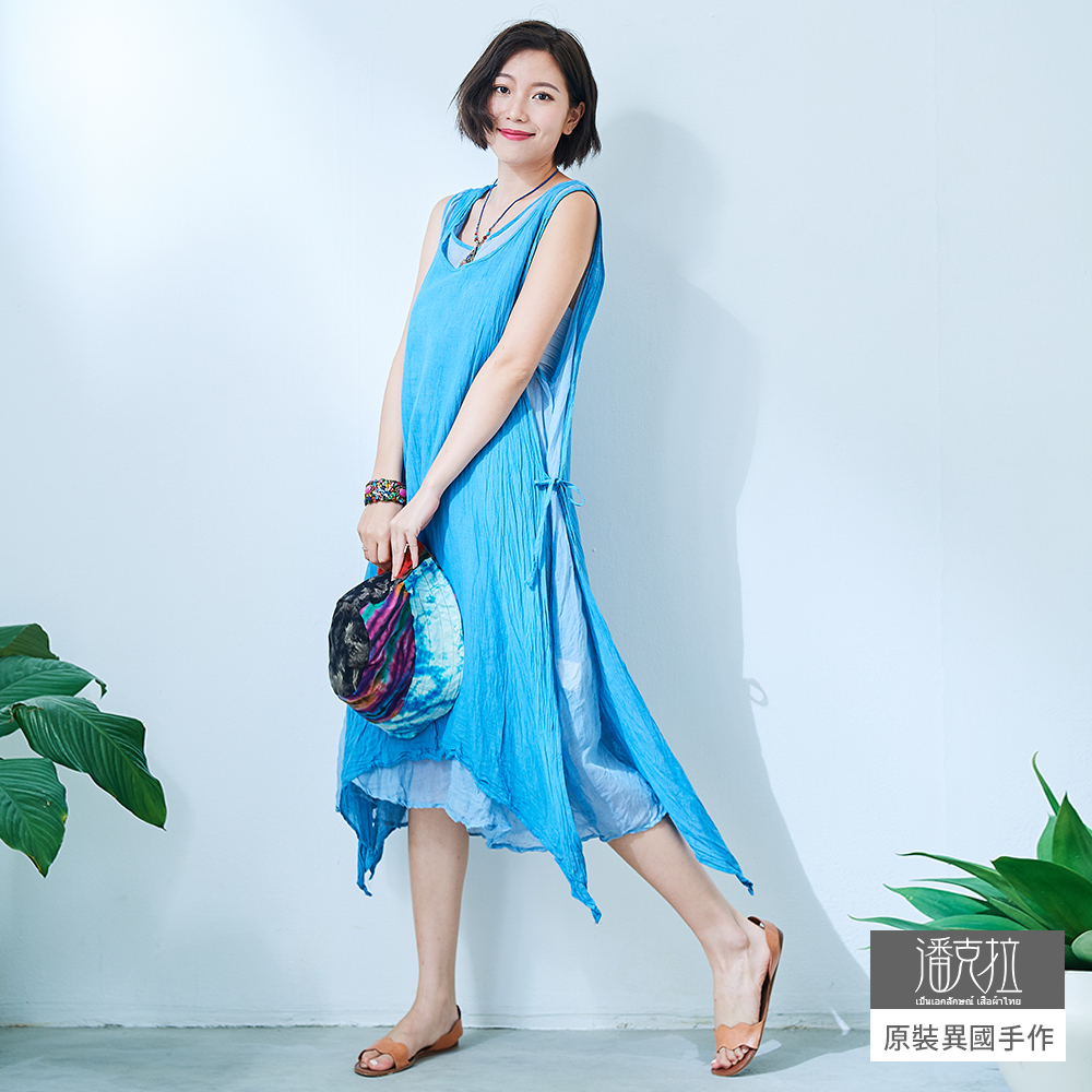 潘克拉 兩件式雙層綁帶背心裙- 水藍