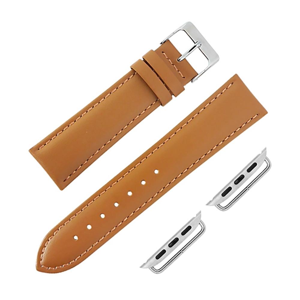 Apple Watch 蘋果手錶替用錶帶 細緻柔軟 真皮錶帶-駝色