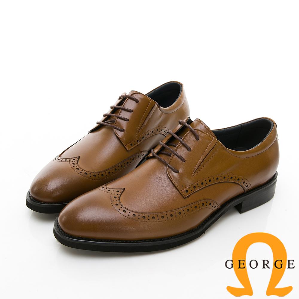 【GEORGE 喬治皮鞋】商務系列 雕花綁帶紳士皮鞋-棕色