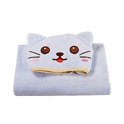 COTEX可愛動物大浴巾凱特貓(藍色)